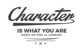 O caráter é o que você é quando ninguém está olhando ilustração do vetor
