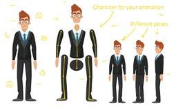 O caráter é um homem de negócios O caráter está pronto para a animação Animação da caminhada ilustração do vetor