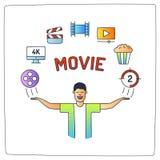 o caráter com suas mãos levanta e o filme video do cinema da produção faz Ilustração Royalty Free