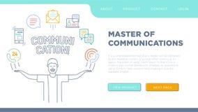 o caráter com suas mãos levanta e os ícones de uma comunicação são arranjados Ilustração do Vetor