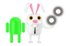 o caráter 3d, o coelho, o robô verde e uma roda denteada rodam ilustração stock