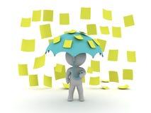 o caráter 3D guardar um guarda-chuva quando notas pegajosas do post-it amarelo Fotos de Stock