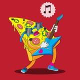 O caráter da pizza joga a guitarra e canta-a Imagem do vetor ilustração stock