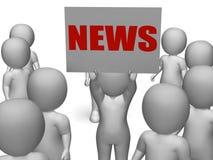 O caráter da placa da notícia mostra a notícia global ou Imagem de Stock Royalty Free