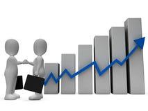 O caráter do gráfico mostra o sucesso bem sucedido e a rendição do negócio 3d ilustração do vetor