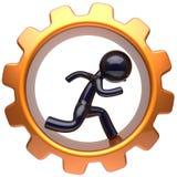 O caráter do homem dentro da roda de engrenagem corre a roda denteada do homem de negócios ilustração stock