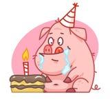 O caráter do porco olha o bolo Fotografia de Stock Royalty Free