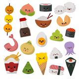 O caráter do sushi do emoticon do vetor do alimento de Kawaii e o sashimi japoneses do emoji rolam com arroz dos desenhos animado ilustração stock