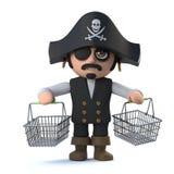 o caráter engraçado do capitão do pirata 3d tem comprado Imagens de Stock