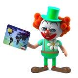 o caráter engraçado do palhaço dos desenhos animados 3d paga com um cartão de crédito Fotos de Stock Royalty Free
