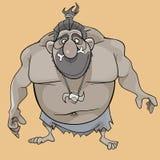 O caráter engraçado dos desenhos animados é um homem primitivo ronco ilustração stock
