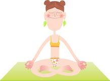 O caráter engraçado está praticando a ioga e a meditação ilustração stock