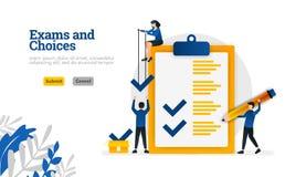 O caráter liso dos exames e das escolhas para o conceito da aprendizagem e da ilustração do vetor dos consultantes da avaliação p ilustração stock