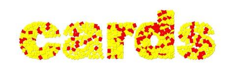 o ` carda o ` feito de cartões vermelhos e amarelos fotografia de stock