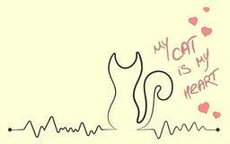 O cardiograma sob a forma de uma silhueta de um gato com uma inscrição meu gato é meu coração Ilustração do vetor ilustração stock