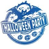 O carimbo de borracha com o bastão na noite da lua e o Dia das Bruxas party Imagens de Stock