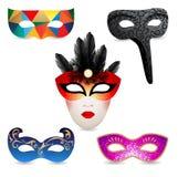 O carnaval brilhante mascara ícones Imagens de Stock