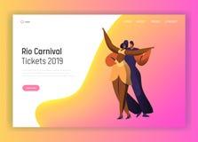 O carnaval da dança de Brasil acopla a página da aterrissagem do caráter Samba Dancer no festival vívido do verão brasileiro Carn imagem de stock royalty free