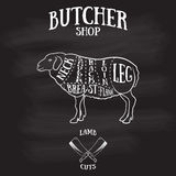 O carniceiro corta o esquema do cordeiro ou da carne de carneiro Fotografia de Stock Royalty Free
