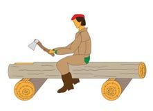 O carpinteiro áspero cinzela um sulco em um registro Fotografia de Stock