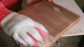 O carpinteiro cobre a chapa do mordente, madeira seca video estoque