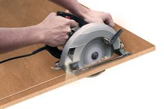 O carpinteiro com viu Imagens de Stock