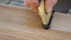 O carpinteiro está cobrindo a tabela pela laca video estoque