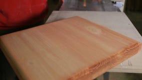 O carpinteiro seca a placa coberta com o secador da construção do mordente video estoque
