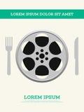 O carretel de filme do filme e o cartaz do vintage do diafilme vector a ilustração Imagens de Stock Royalty Free