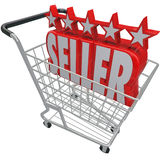 O carrinho de compras do vendedor de cinco estrelas confiou o melhor varejista em linha Imagens de Stock Royalty Free