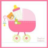 O carrinho de criança do bebê com garrafa, soother, golpeia o vetor ilustração royalty free