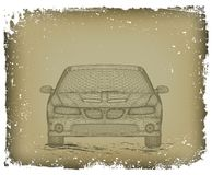 O carro é projetado. Vetor Imagens de Stock Royalty Free