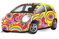 O carro com testes padrões da arte ilustração stock
