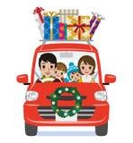 O carro da decoração do Natal carrega caixas de presente - família dos desenhos animados ilustração do vetor