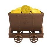 O carro da mineração com Bitcoins dourado isolou-se ilustração do vetor