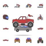 o carro de bigfoot esmaga carros coloca o coloricon Grupo detalhado de ícones grandes do carro do pé da cor Projeto gráfico super ilustração do vetor