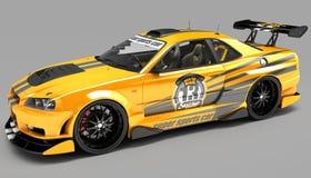 O carro de esportes é um cupê do sedan no desempenho de competência exclusivo e com um jogo aerodinâmico do corpo Pretende-se par fotografia de stock