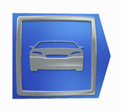 O carro desportivo que estaciona o sinal azul da seta isolou-se Imagem de Stock Royalty Free