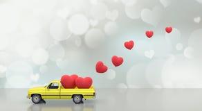 O carro do brinquedo com fundo vermelho 3d dos corações rende Fotos de Stock Royalty Free