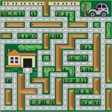 O carro do labirinto vai em casa Fotos de Stock