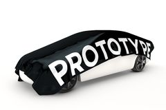 O carro do protótipo é coberto ilustração stock