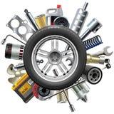 O carro do vetor poupa o conceito com roda Imagem de Stock Royalty Free