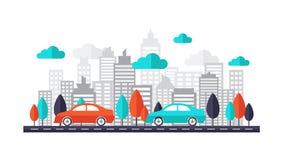 O carro em ruas da cidade cria perto Carro que corre na estrada através da cidade Ilustração lisa do projeto ilustração do vetor