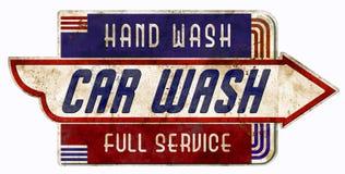 O carro era lavagem retro da mão do serviço completo da garagem do vintage do sinal ilustração stock