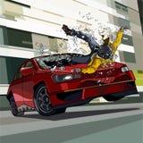 O carro está na velocidade e bate o homem para baixo Fotografia de Stock Royalty Free