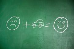O carro fá-lo feliz Imagens de Stock