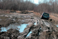 O carro furou na lama Fotografia de Stock