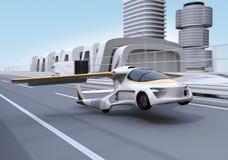 O carro futurista do voo decola da estrada ilustração do vetor