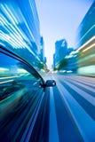 O carro move-se na grande velocidade Imagem de Stock