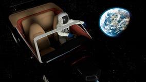 O carro no espaço ilustração do vetor